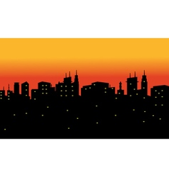Silhouette of city at the night vector image