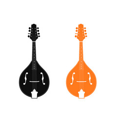 silhouette of mandolin in black and orange color vector image