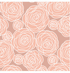 simple pale color rose flowers seamless pattern vector image