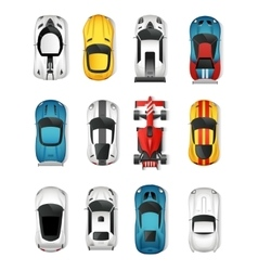 Sport Cars Top View Set vector image