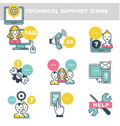 Technical support icons which symbolize help by vector