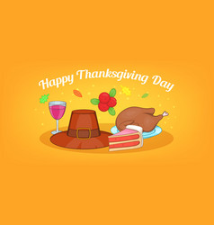 thanksgiving day horizontal banner cartoon style vector image