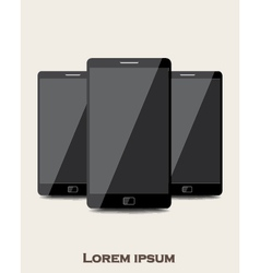 Three mobile phones vector