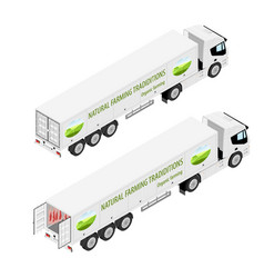 Truck with refrigerated container company logotype vector