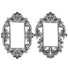 vintage baroque frame decor detailed ornament vector image