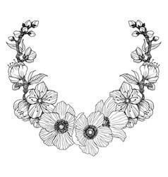vintage frame border monogram floral ornament vector image
