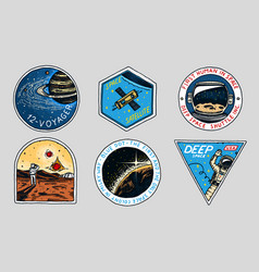 Vintage space logo exploration of the vector
