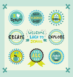 Welcome back to school cute circle emblems set vector