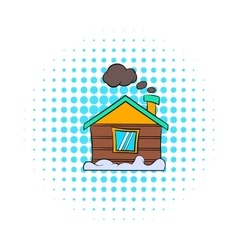 Winter house icon comics style vector