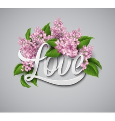 Word Love with flowers vector image vector image