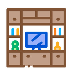 workplace with computer icon outline vector image