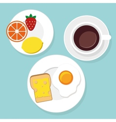 Breakfast food and drinks in flat style vector image vector image