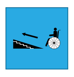 disabled ramp up isolated sign in blue square vector image