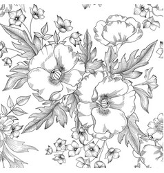 floral seamless pattern summer flower bouquet vector image