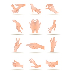 Human hands in different positions vector image vector image
