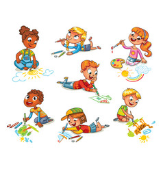 little children draw pictures pencils and paints vector image vector image
