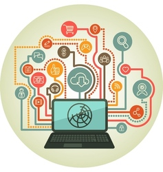 online interaction by a laptop vector image