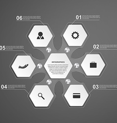 Abstract hexagon glass infographics template vector image vector image