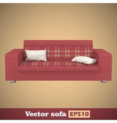 Creative concept red sofa isolated on gold vector image