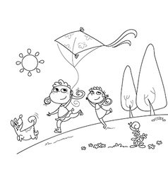 Kids and dog playing with kites vector image vector image