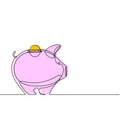 piggy bank continuous line vector image