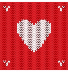 Christmas Knitted background with heart vector image vector image