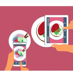 Man and woman are photographing their food in vector image vector image
