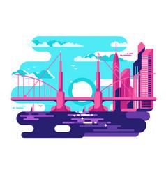 modern urban bridge design flat vector image vector image