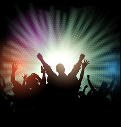 Party crowd on starburst background vector