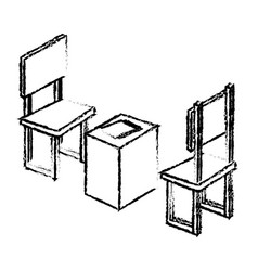 Table with chair isometric vector