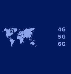 4g 5g 6g blue technology banner and world map vector