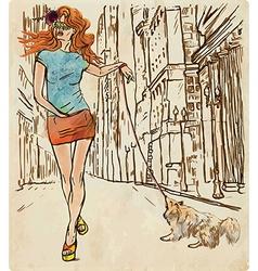 An woman through the street Hand drawn vector