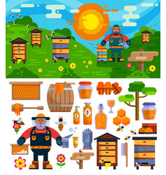 apiary beekeeper honey making farm symbols vector image