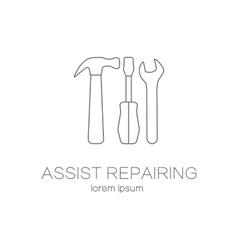 Assist repairing service logotype design templates vector