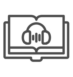 Audio book line icon audio guide vector