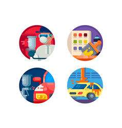 Auto painting set icons vector