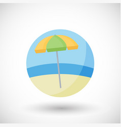 beach umbrella flat icon set vector image