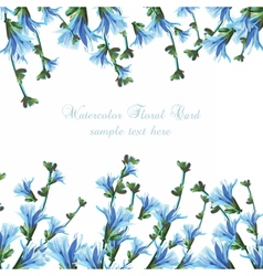 Beautiful Watercolor Blue flowers Wedding card vector image