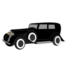 black old retro car on white background vector image
