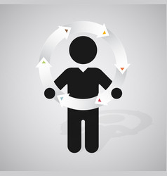 black silhouette of a man holds wheel of arrows vector image