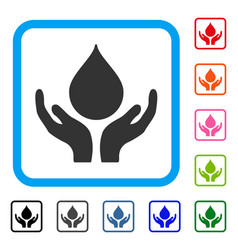 Blood donation hands framed icon vector