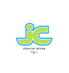 Blue green alphabet letter jc j c logo icon design vector