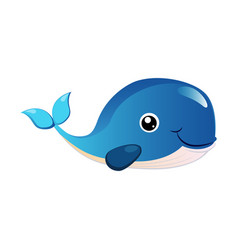 blue humpback whale sea creature colorful vector image