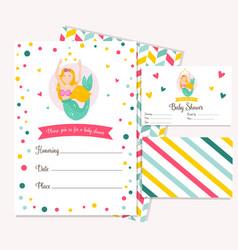 bright invitation card with cute fairy mermaid vector image