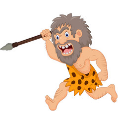 Cartoon caveman hunting with spear vector