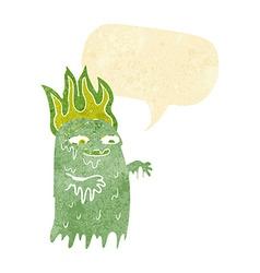Cartoon spooky ghost with speech bubble vector