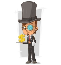 Cartoon stylish intelligent with monocle vector