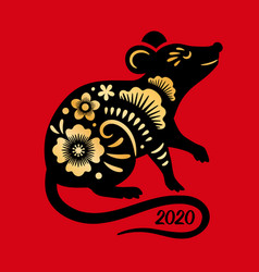 chinese rat 2020 greeting card vector image