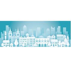 City in winter background vector