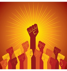Clenched fist held in protest concept vector